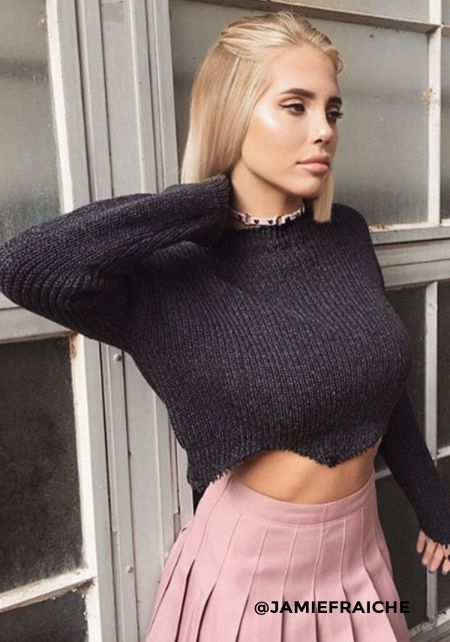 Charcoal Chunky Cropped Sweater Top
