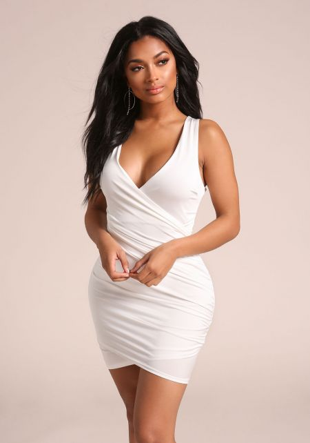 Ivory Back Cross Over Ruched Bodycon Dress