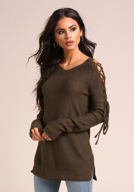 Olive Sleeve Lace Up Knit Sweater Top