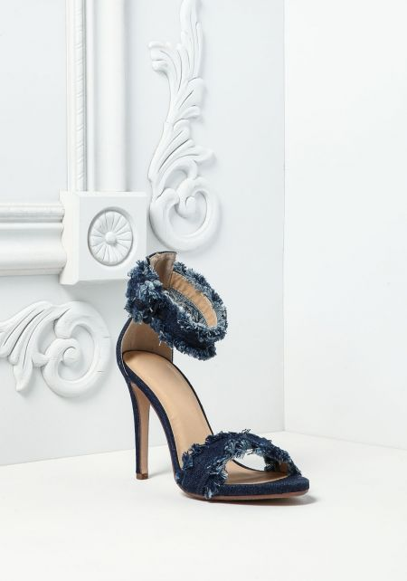 Dark Denim Frayed Ankle Strap Heels