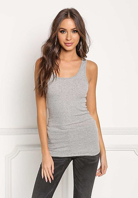 Heather Grey Ribbed Knit Racerback Tank Top