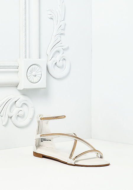 White Leatherette Double Strap Sandals