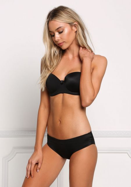 Black Solid Low Rise Panties