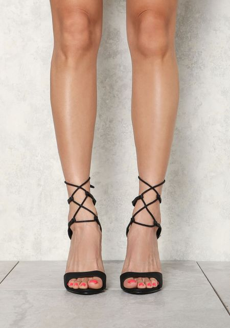 Black Leatherette Thin Strap Lace Up Heels