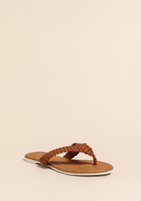 Tan Braided Leatherette Thong Sandals