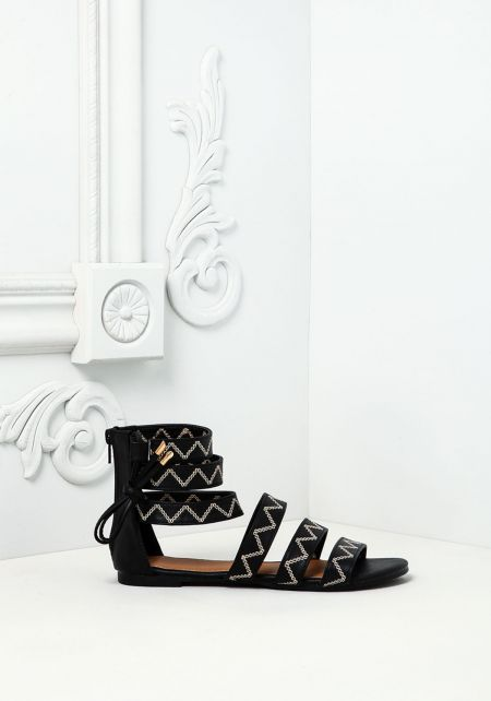 Black Leatherette Stitched Sandals