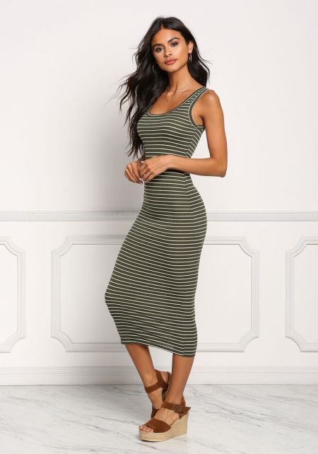 Olive Stripe Ribbed Knit Midi Dress