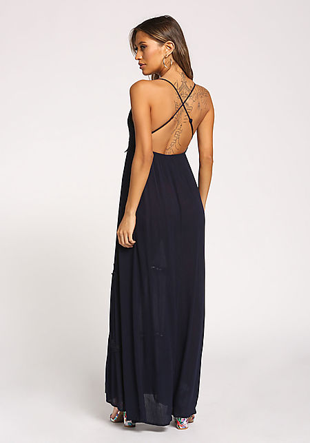 Navy Embroidered Cross Strap Maxi Dress