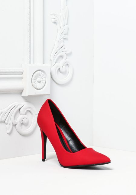 Red Leatherette Pointed Toe Heels