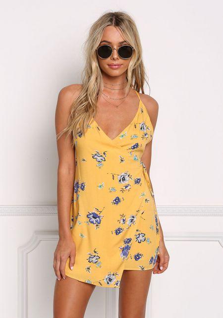 Mustard Floral Wrap Mini Dress