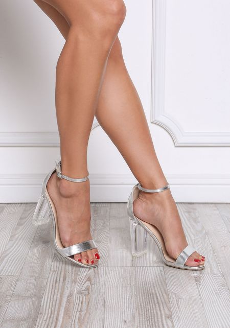 Silver Metallic Clear Ankle Strap Heels