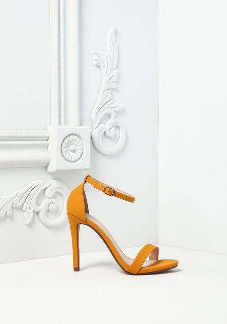 Mustard Leatherette Ankle Strap Heels