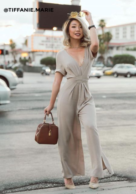 Taupe Low Cut V Crepe Jumpsuit