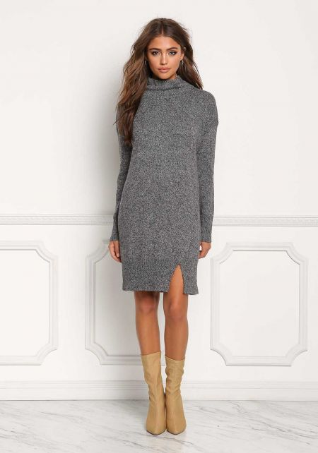 Charcoal Mock Neck Thick Knit Shift Dress