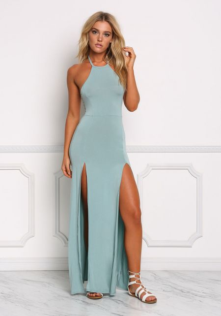 Teal Two Slit Halter Maxi Dress