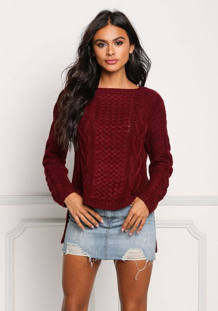Burgundy Cable Knit Hi-Lo Sweater