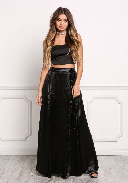 Black Satin High Rise Wrap Maxi Skirt