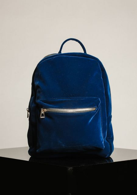 Navy Velvet Backpack
