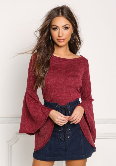 Burgundy Marled Knit Bell Sleeve Top