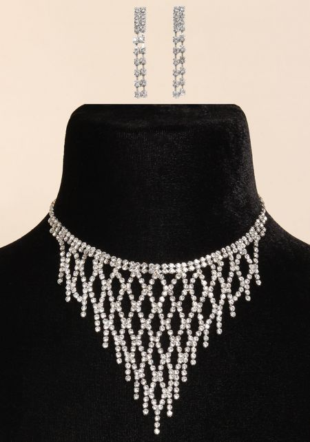 Silver Rhinestone Bandana Choker & Earrings Set