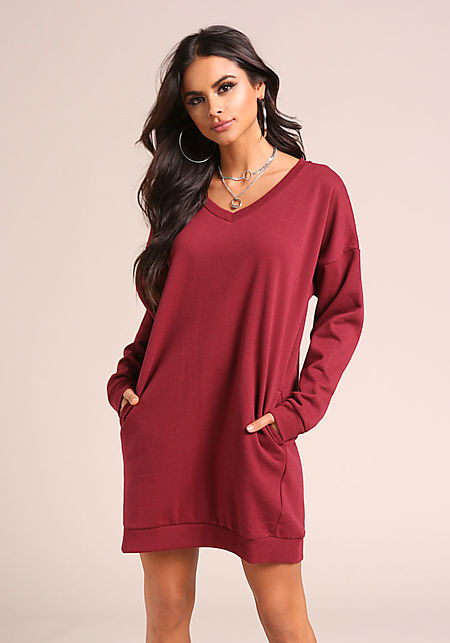 Burgundy Pullover Pocket Sweater Shift Dress