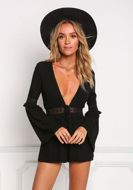 Black V Plunge Embroidered Bell Sleeve Romper