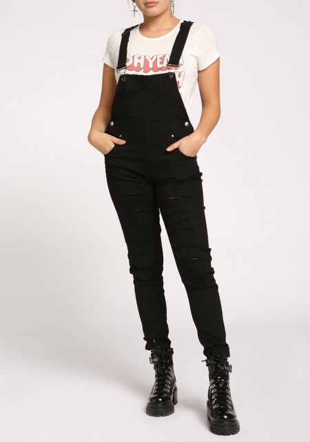 Black Slashed Denim Overalls
