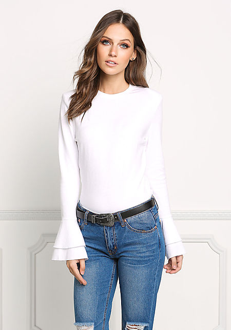 Ivory Bell Sleeve Sleek Solid Top