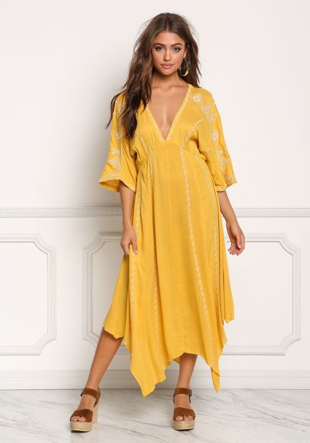 Yellow Plunge Gauze Embroidered Pointed Maxi Dress