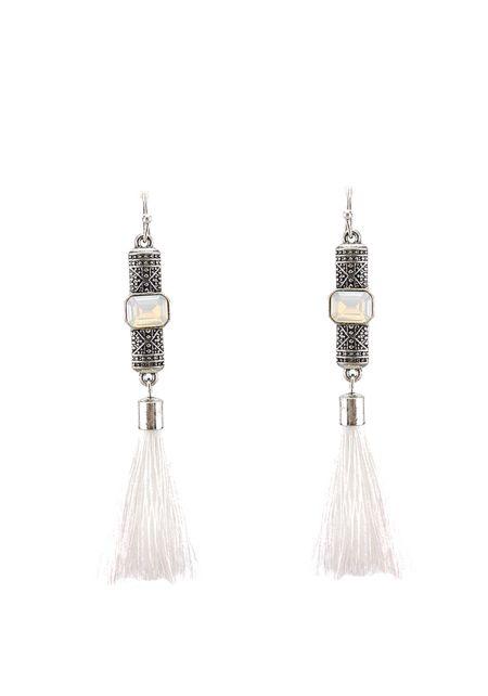 White Engraved Tassel Earrings