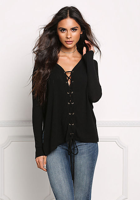 Black Lace Up Ribbed Knit Slit Top