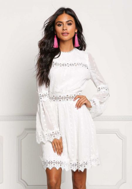 Ivory Embroidered Crepe Bell Sleeve Dress