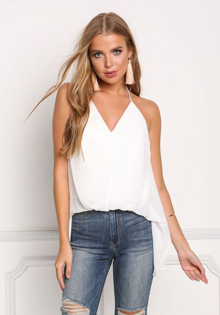 White Chiffon Open Back Pointed Tank Top