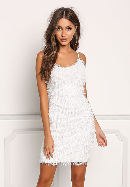 White Faux Feather Fringe Shimmer Bodycon Dress