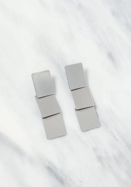 Silver Square Tiered Drop Earrings
