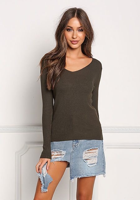 Olive Ribbed Knit Long Sleeve Top