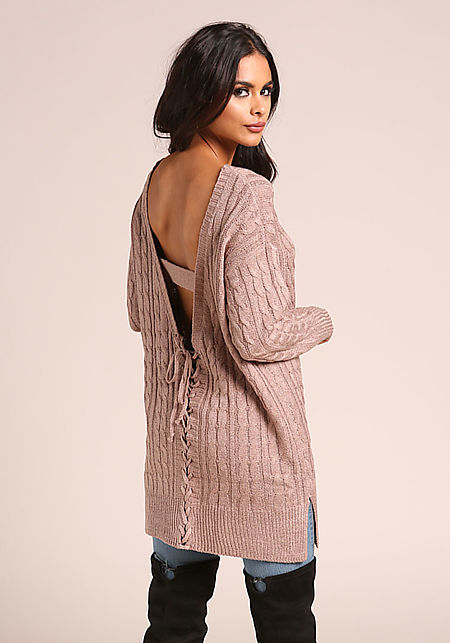 Taupe Cable Knit V Back Tunic Sweater Top