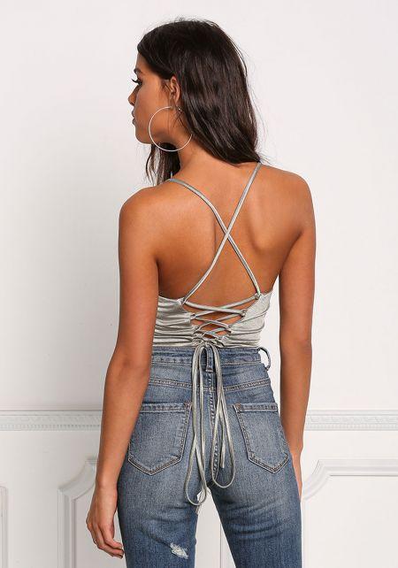 Olive Lustrous Back Lace Up Crop Top