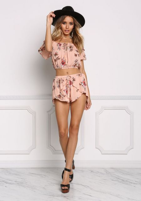 Dusty Pink Floral Crepe Layered Shorts