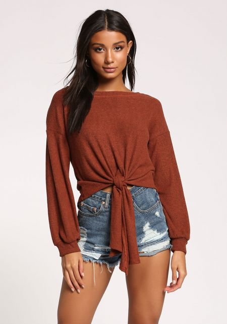 Rust Tie Front Ribbed Knit Top
