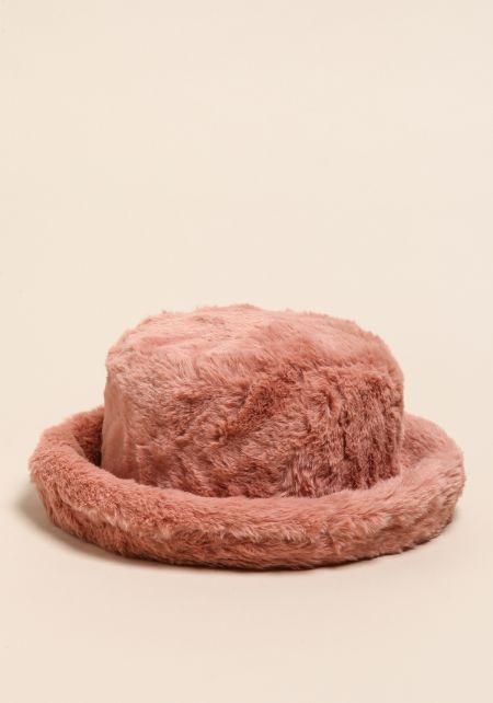 Dusty Pink Faux Fur Bucket Hat