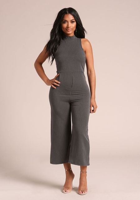 Charcoal Pinstripe Cropped Jumpsuit