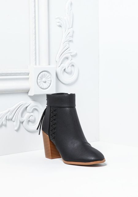 Black Leatherette Criss Cross Stacked Booties