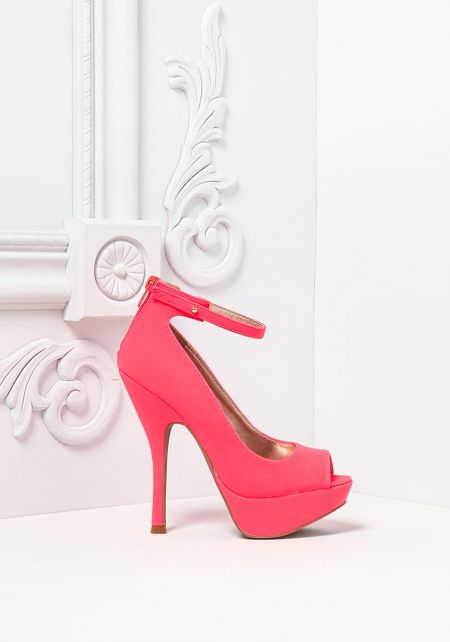 Neon Coral Suedette Open Toe Ankle Strap Heels