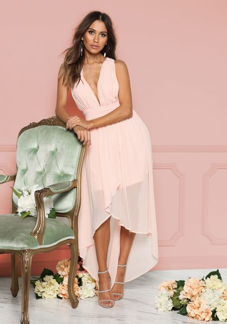 Blush Chiffon Plunge Hi-Lo Dress