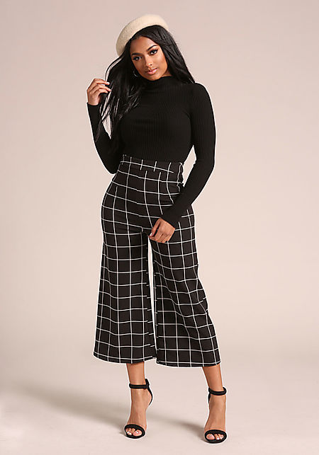 Black Grid High Rise Palazzo Pants
