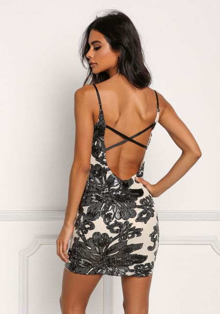 Nude Floral Sequin Low Back Bodycon Dress