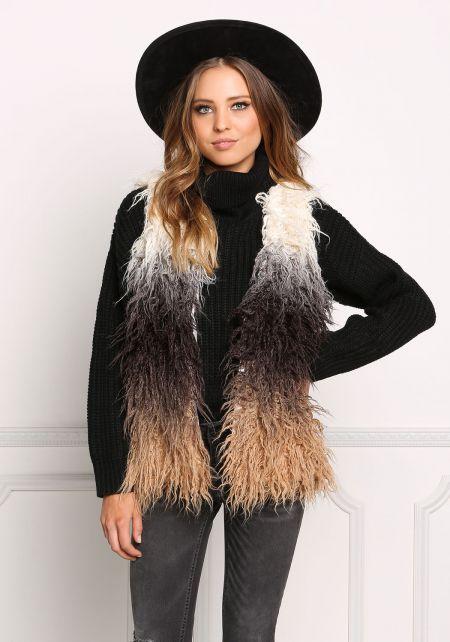 Multi Color Block Shaggy Faux Fur Vest