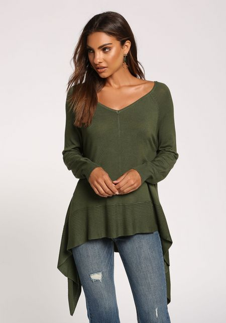 Olive Side Pointed Sweater Top