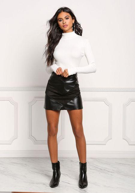 Black Leatherette & Suedette Mini Skirt
